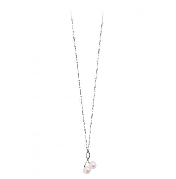 Pendentif cerises deux perles sur chaine or blanc perles blanches