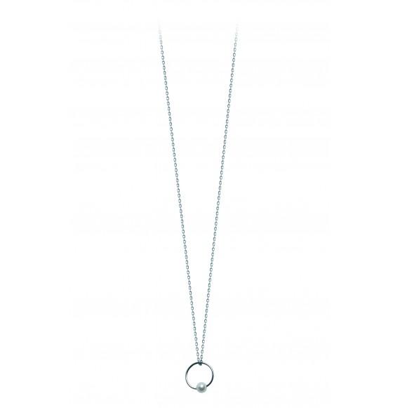 Pendentif cercle perle blanche petit modèle