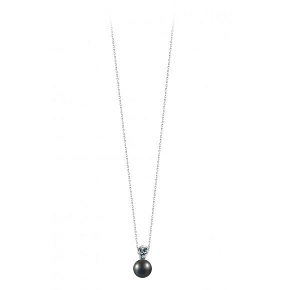 Pendentif perle noire et tête de mort liées
