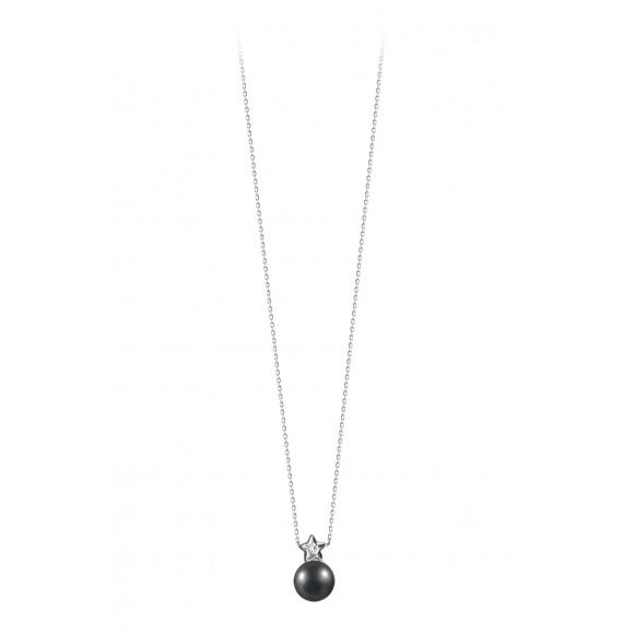 Pendentif perle noire et étoile liées