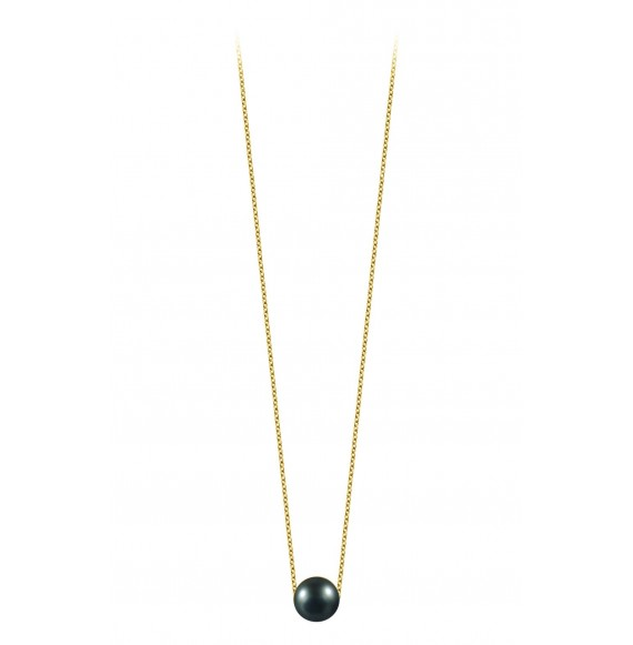 Simply pearly perle noire et chaine or jaune