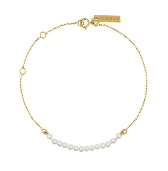 Bracelet mini rock my pearls - or jaune et perles blanches
