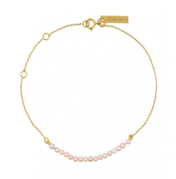 Bracelet mini rock my pearls - or jaune et perles roses