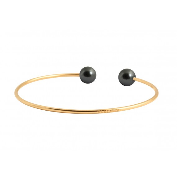 Bangle bracelet black pearls