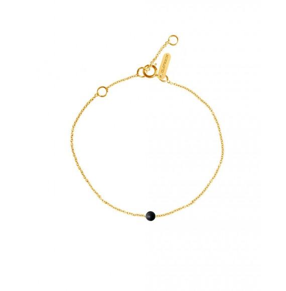 Bracelet perle blanche sur chaine or blanc