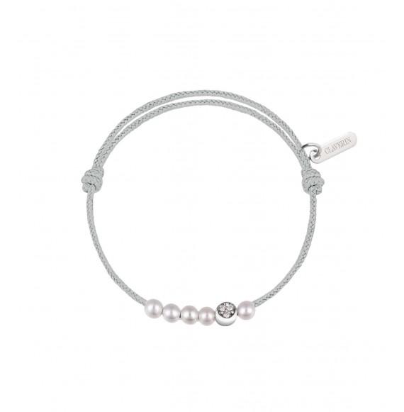 6 Little Diamond Moon cordon gris perle
