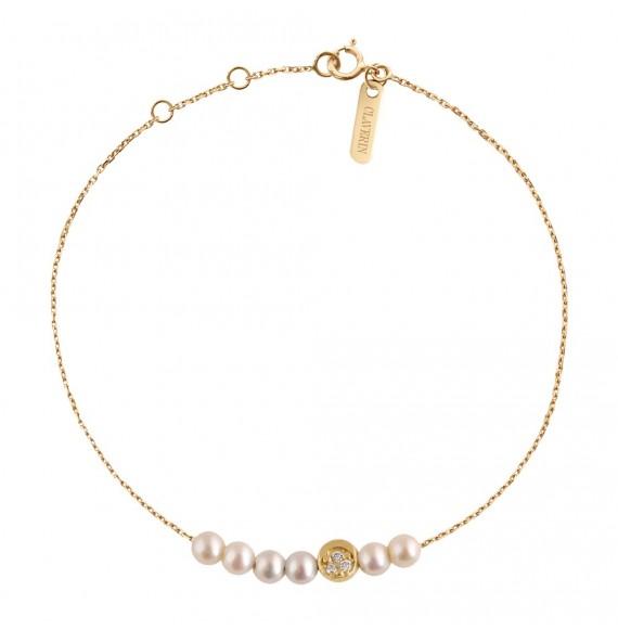 Bracelet Rosary Diamond Moon or jaune et perles blanches