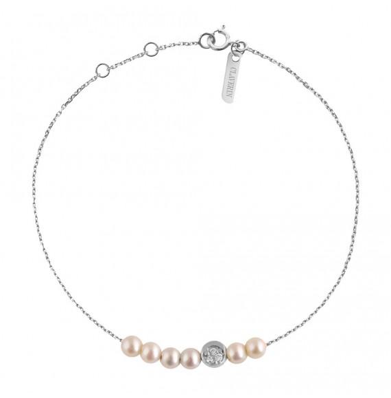 Bracelet Rosary Diamond Moon or blanc et perles blanches