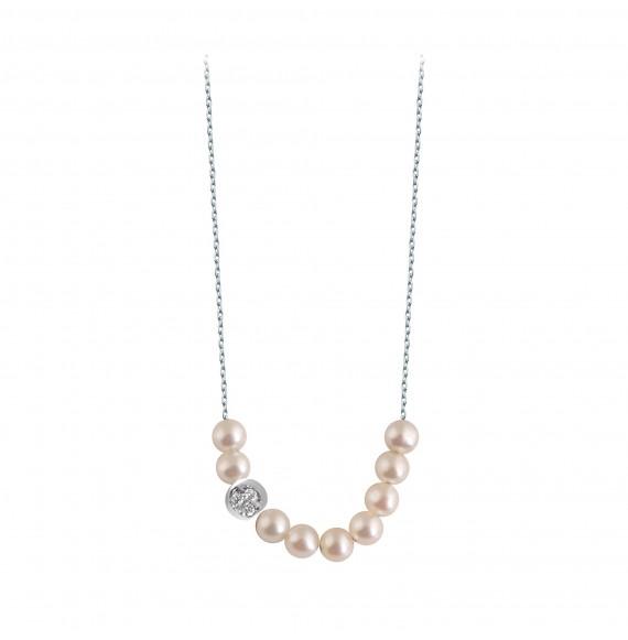 Rosary Diamond moon necklace