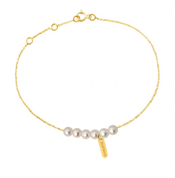 Bracelet Rosary perles blanches or jaune