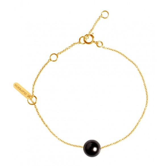 Bracelet Simply pearly perle noire et or jaune