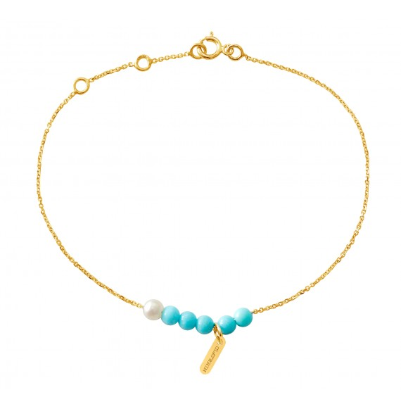 Bracelet Blue Rosary or jaune