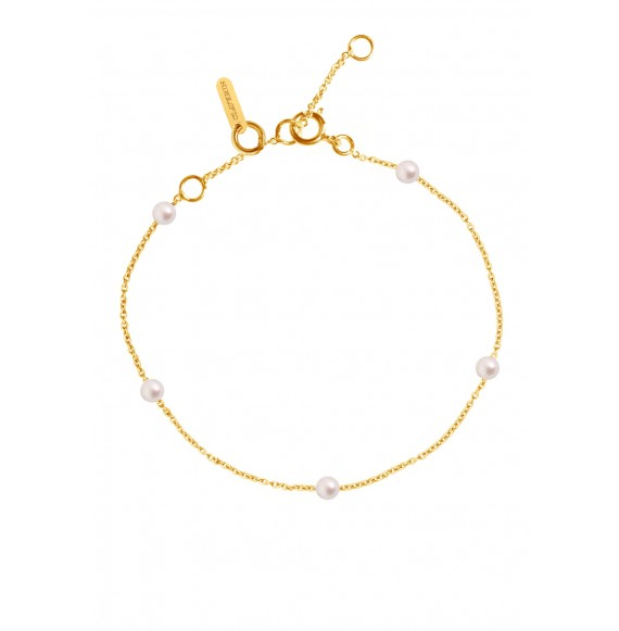 Bracelet Give me 5 perles blanches et or jaune