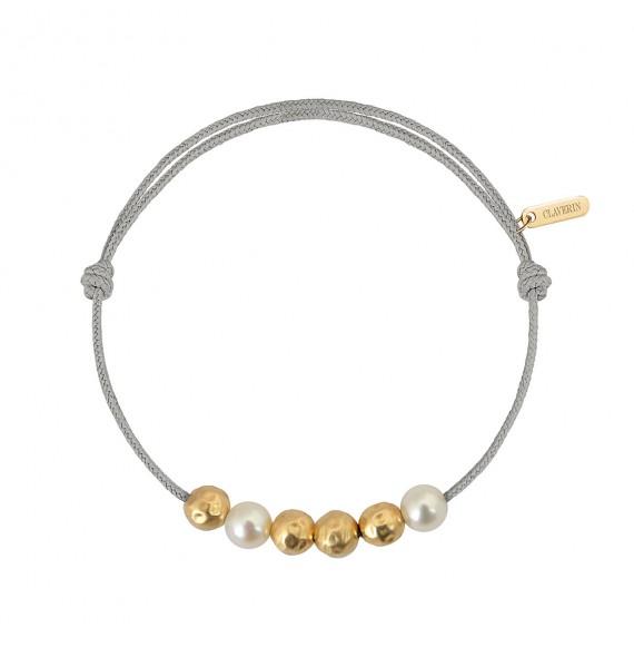 Météorites or jaune et perles blanches cordon gris perle