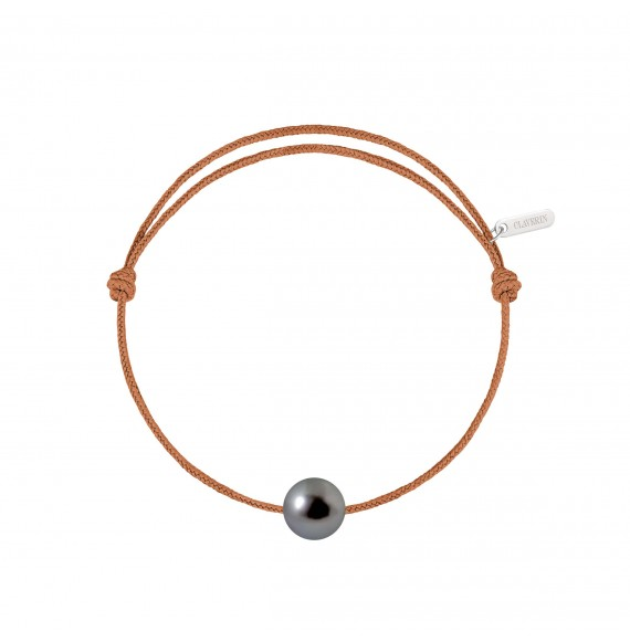 Simply pearly perle noire de Tahiti cordon camel