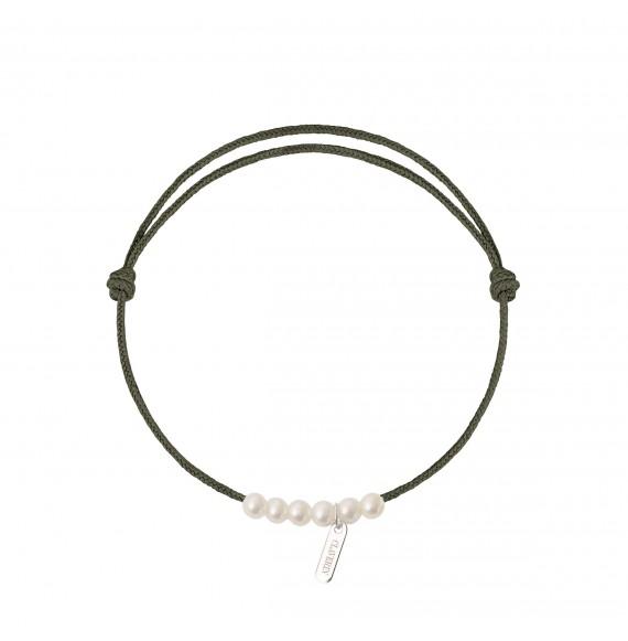 6 little treasures perles blanches cordon kaki