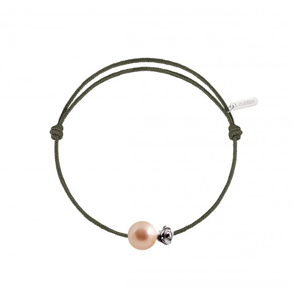 Pearly gold flower cord bracelet pink pearl