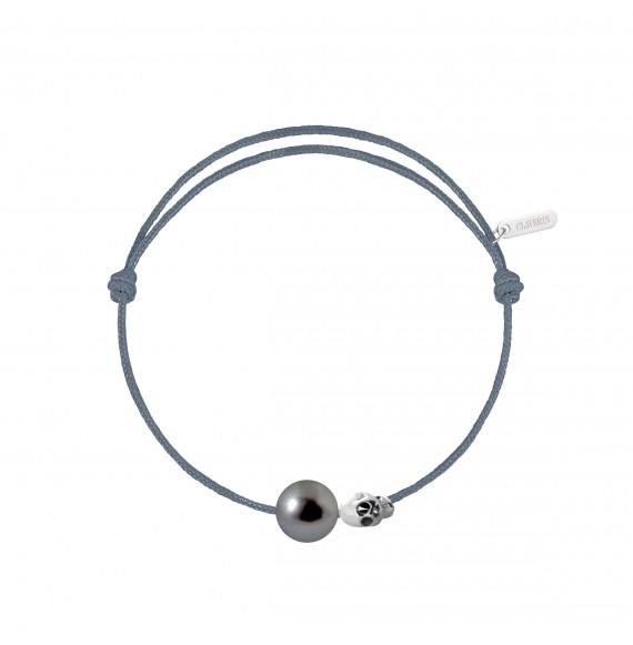 Pearly gold skull perle noire cordon gris cendré