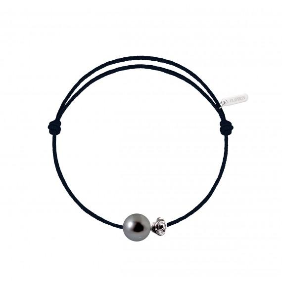 Pearly gold flower perle noire cordon noir charbon