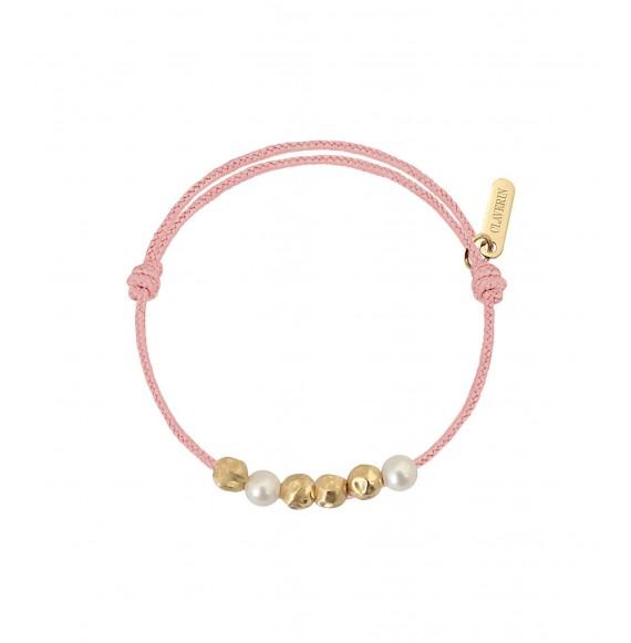 Baby Météorites perles blanches cordon rose poudré
