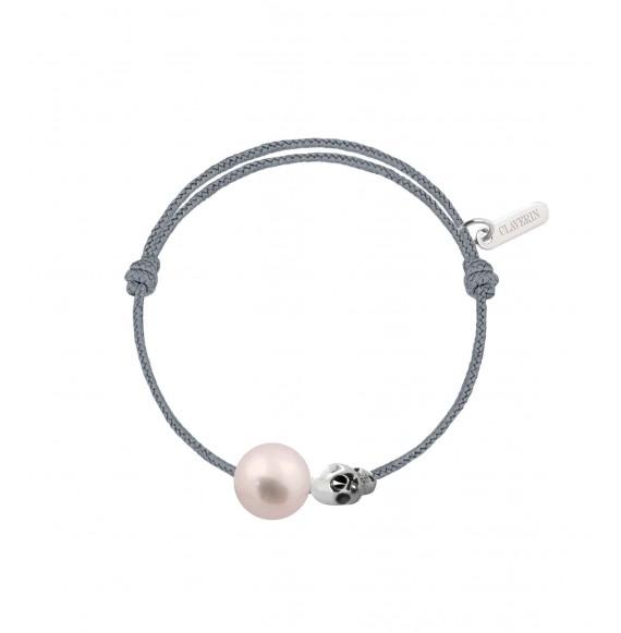 Baby pirate perle blanche cordon gris cendré