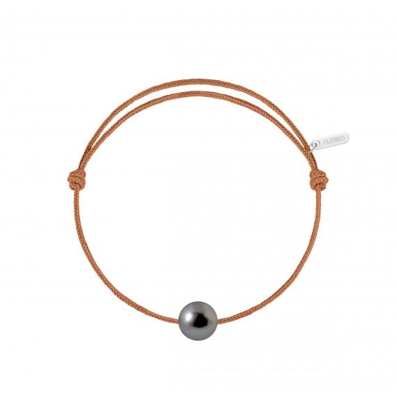 Bracelet cordon perle simple noire de Tahiti