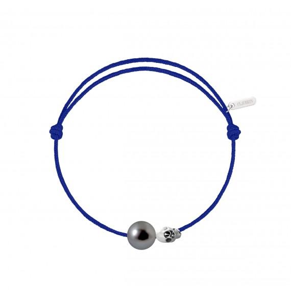 Pearly gold skull perle noire cordon bleu électrique