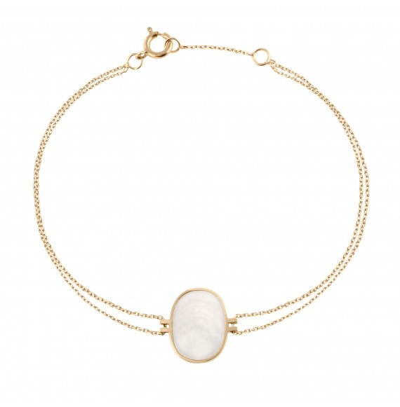 Bracelet Organic white mother-of-pearl