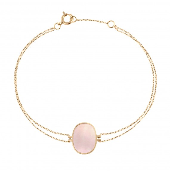 Bracelet Organic pink mother-of-pearl