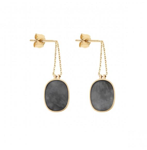 Organic grey mother-of-pearl earrings