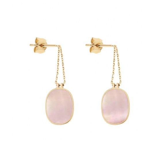 Organic pink mother-of-pearl earrings