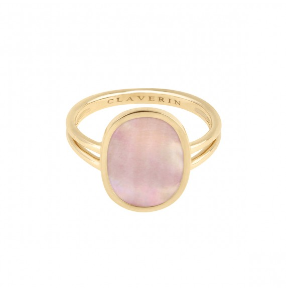 Organic pink mother-of-pearl ring