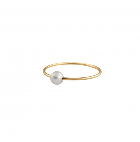 Bague Simply Mini or jaune perle blanche