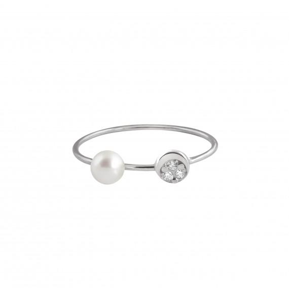 Bague Mini Diamond Moon perle blanche