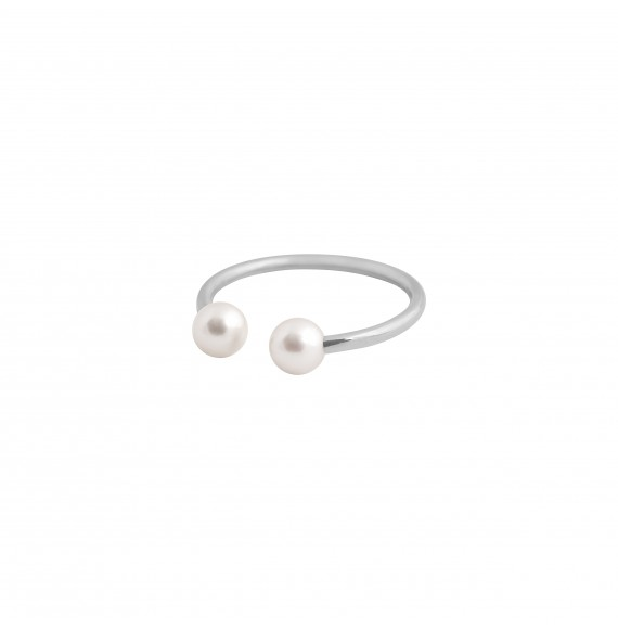 Bague Jonc or blanc perles blanches