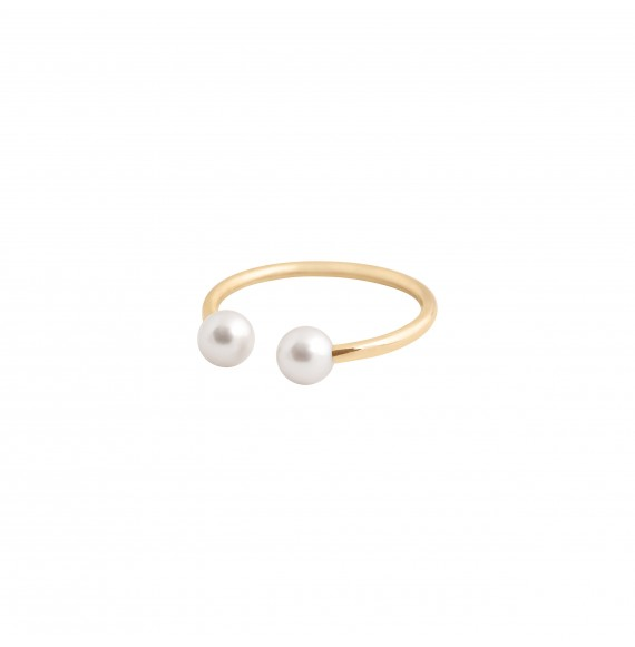 Bague Jonc or jaune perles blanches