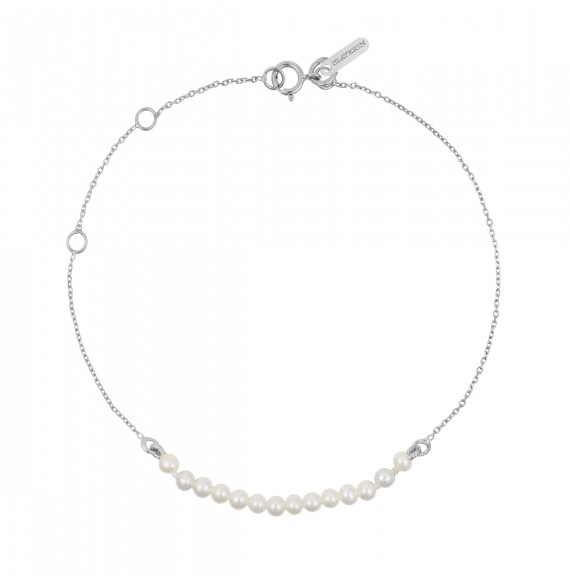 Bracelet mini rock my pearls - or blanc et perles blanches