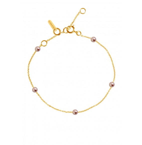 Bracelet Give me 5 perles roses et or jaune