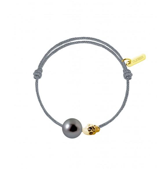 Baby gold skull perle noire cordon gris cendré