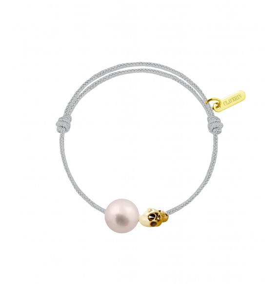 Baby pirate perle blanche cordon gris perle