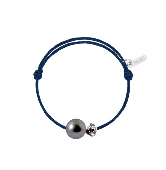 Baby flower perle noire cordon bleu marine