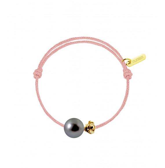Baby flower perle noire cordon rose poudré