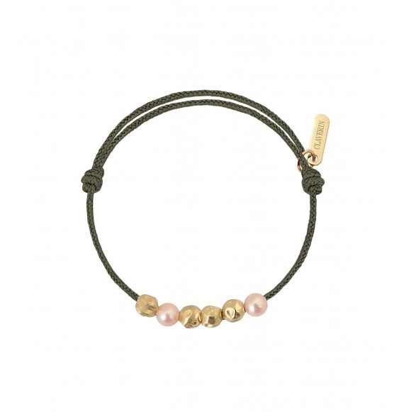 Baby Météorites perles roses cordon kaki