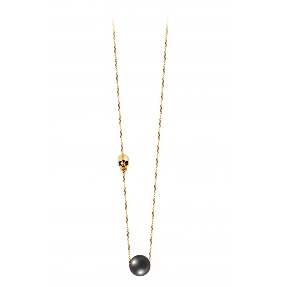 Collier Pearly Skull perle noire or jaune