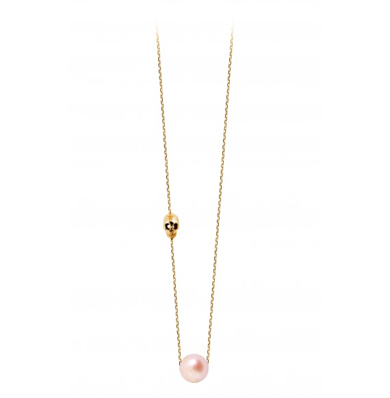 Collier Pearly Skull perle rose or jaune