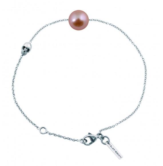 Bracelet perle rose sur chaine or blanc