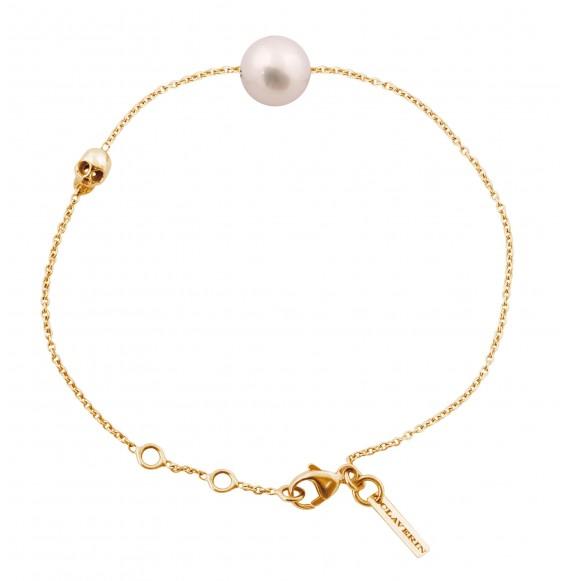 Bracelet perle blanche et tête de mort or jaune