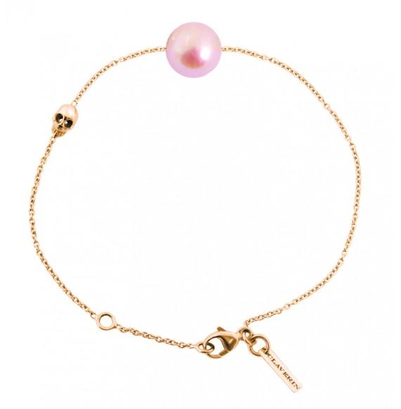 Bracelet perle rose et tête de mort or jaune