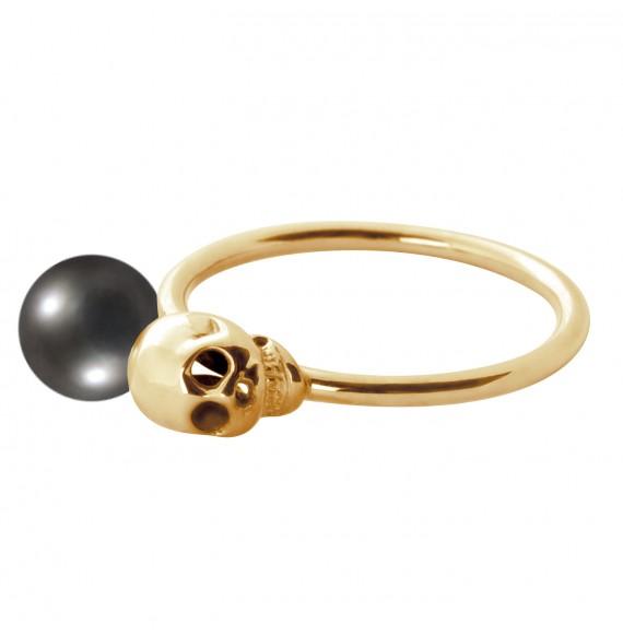 Bague Skull perle noire