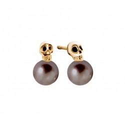 My Pearly Skull Earrings (Black Pearl)